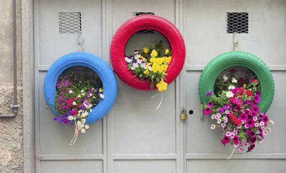Coloured Tyres used as plant holders