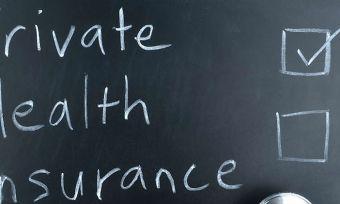 Private Health Insurance on Blackboard in form of checklist