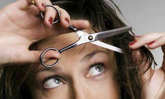 Women cutting hair
