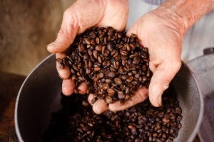 Farmer coffee beans