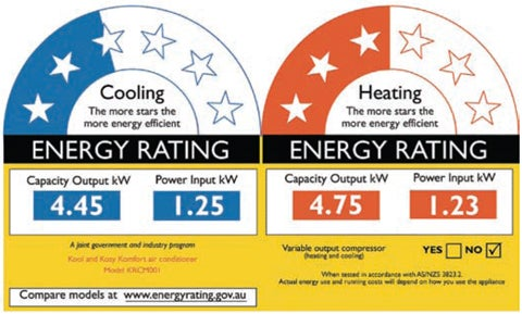 star rating for energy efficiency